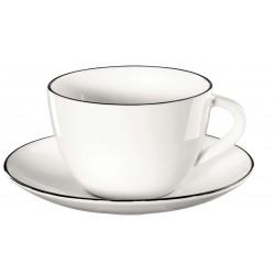 tasse à café/thé avec soucoupe LIGNE NOIRE